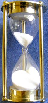 White Sand Refillable Hourglass, Front View